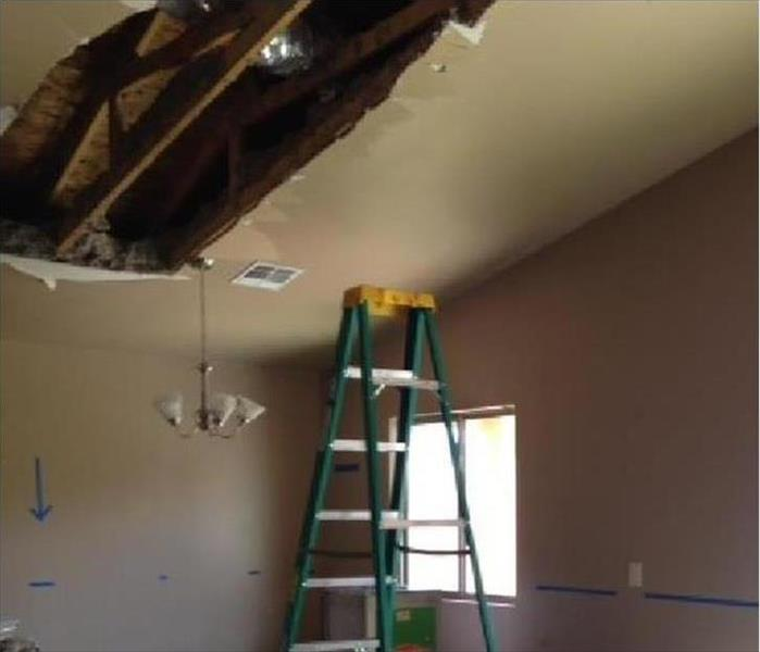 Ceiling exposed in home