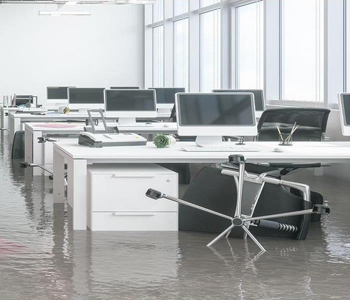 water damaged office after incident